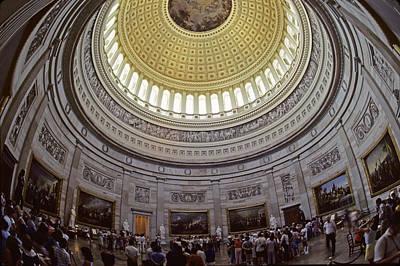 Tourists Gathered Under The The U.s Art Print