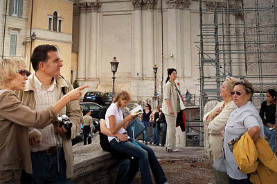 Photograph - Tourists In Rome Italy by Alex Saunders