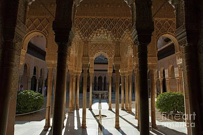 Tourists In The Courtyard In The Patio De Los Leones Area At Alhambra Art Print by Sami Sarkis