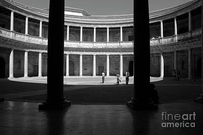 Tourists Inside A Courtyard At The Palace Of Charles V At Alhambra Art Print by Sami Sarkis