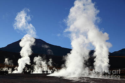 Tourists Visiting The El Tatio Geysers Chile Art Print by James Brunker