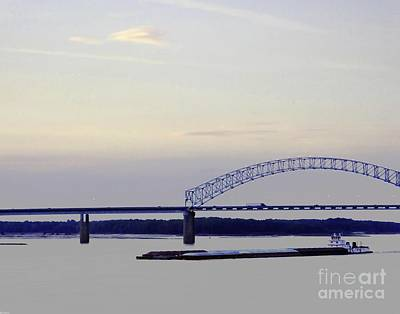 Photograph - Tow At The Memphis Arkansas Hernando Desoto Bridge by Lizi Beard-Ward