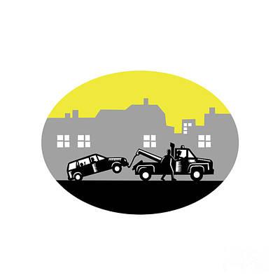 Tow Truck Towing Car Buildings Oval Woodcut Art Print