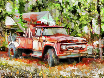 Outdoor Painting - Tow Trucks by Lanjee Chee