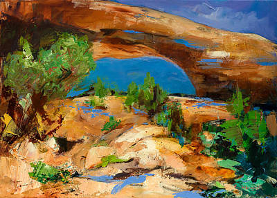 Arches National Park Painting - Toward The Arch  by Elise Palmigiani