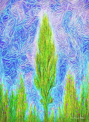 Prana Wall Art - Digital Art - Towards Celestial Realms - Flora Abstract by Joel Bruce Wallach