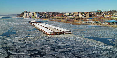 Photograph - Towboat Cooperative Venture On The Icy Mississippi River by Garry McMichael