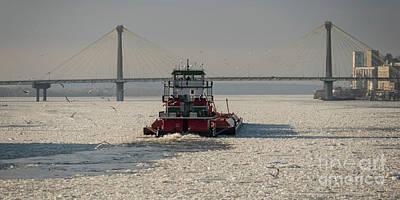 Photograph -  Towboat Lat Gonsolin Near Alton Illinois by Garry McMichael