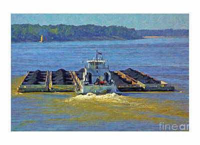 Coal Barge Photograph - Towboat Rear View With 20 Coal Barges by Bob Pickett