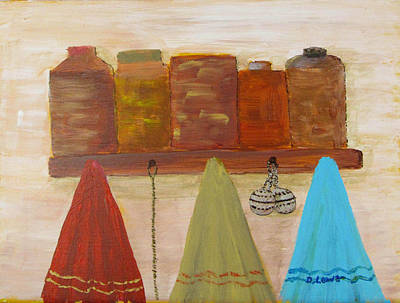 Tea Canisters Painting - Towels And Canisters by Danny Lowe