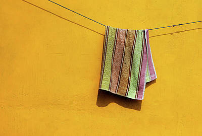 Photograph - Towel Drying On A Clothesline In India by Prakash Ghai