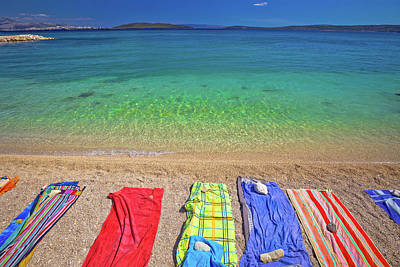 Photograph - Towels On Idyllic Beach In Kastela Bay by Brch Photography