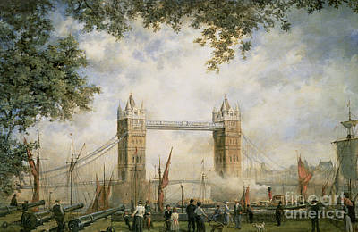 Cannons Painting - Tower Bridge - From The Tower Of London by Richard Willis