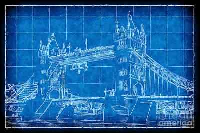 Digital Art - Tower Bridge Blueprint by John Rizzuto