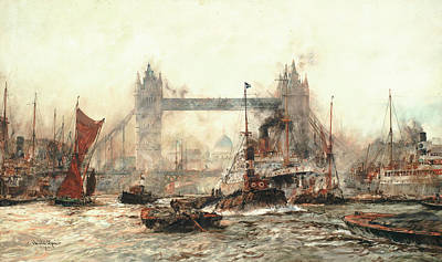 Tower Of London Wall Art - Painting - Tower Bridge From The Lower Pool by Charles Edward Dixon