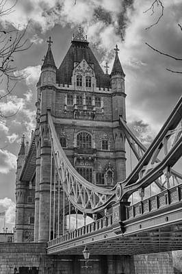 Photograph - Tower Bridge In Black And White by Leah Palmer