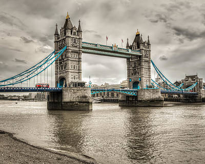 Selective Color Photograph - Tower Bridge In London In Selective Color by James Udall
