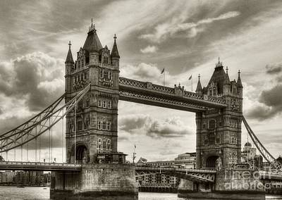 Photograph - Tower Bridge In London Sepia Tone by Mel Steinhauer