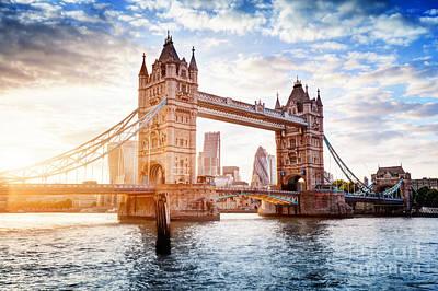 Dramatic Photograph - Tower Bridge In London, The Uk At Sunset. Drawbridge Opening by Michal Bednarek