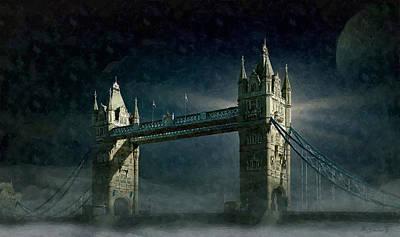 Digital Art - Tower Bridge In Moonlight by Kai Saarto