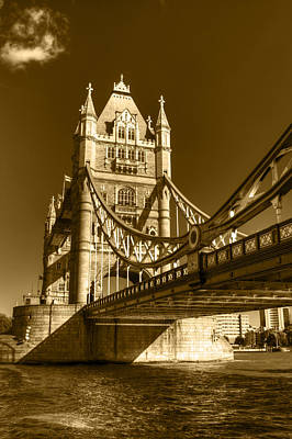 Photograph - Tower Bridge In Sepia by Chris Day