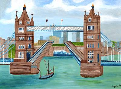 Art Print featuring the painting Tower Bridge London by Magdalena Frohnsdorff