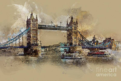Digital Art - Tower Bridge Of London by Teresa Zieba