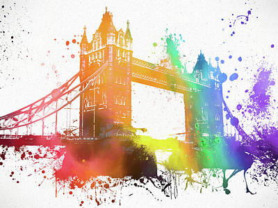 London Skyline Royalty-Free and Rights-Managed Images - Tower Bridge Paint Splatter by Dan Sproul