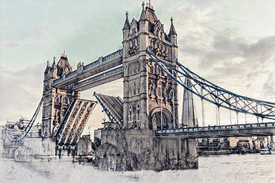 Mixed Media - Tower Bridge by Pennie  McCracken