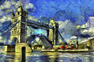 Impressionism Photo Royalty Free Images - Tower Bridge Van Gogh Royalty-Free Image by David Pyatt