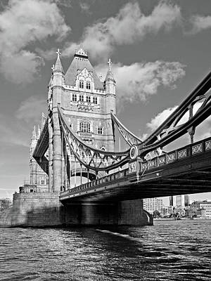 Tower Bridge London Photograph - Tower Bridge Vertical Black And White by Gill Billington