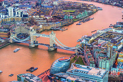 Photograph - Tower Bridge - View From The Shard - London - Uk by Luciano Mortula