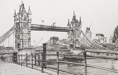 Landmarks Drawing - Tower Bridge by Vincent Alexander Booth