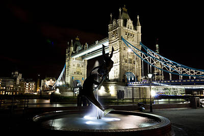 Statue Bridge Photograph - Tower Bridge With Girl And Dolphin Statue by David Pyatt