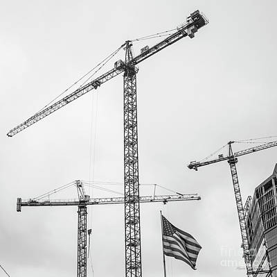 Photograph - Tower Cranes Bw Construction Art by Reid Callaway