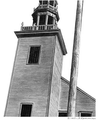 Telephone Poles Drawing - Tower by Erin Karlstad