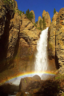 Tower Falls With Rainbow Original
