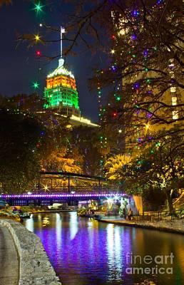 Photograph - Tower Life Riverwalk Christmas by Michael Tidwell