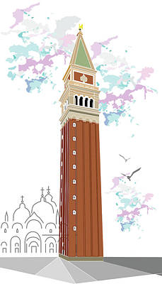 Tower Of Campanile In Venice Art Print
