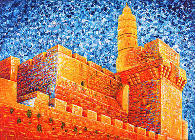 Art Print featuring the painting Tower Of David At Night Jerusalem Original Palette Knife Painting by Georgeta Blanaru