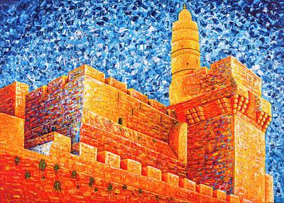 Tower Of David Painting - Tower Of David At Night Jerusalem Original Palette Knife Painting by Georgeta Blanaru