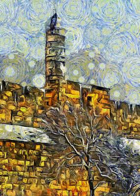 Tower Of David Photograph - Tower Of David Snow Day by Munir Alawi