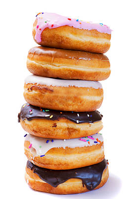 Donut Photograph - Tower Of Freshly Baked Donuts With Icing by Donald  Erickson