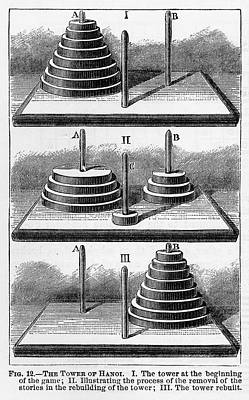 Peg Game Drawing - Tower Of Hanoi Game Engraved Illustration, Circa 1885 by Peacock Graphics