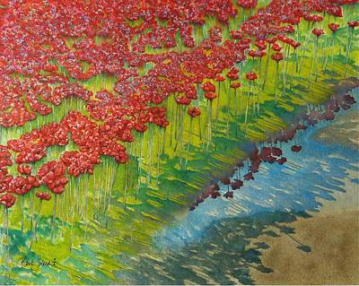 Poppies And Puddles - Tower Of London Original by Barb Toland