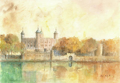 London Painting - Tower Of London Watercolor by Juan Bosco
