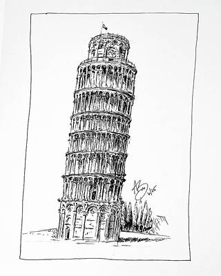 Drawing - Tower Of Pisa by Anthony Brooks