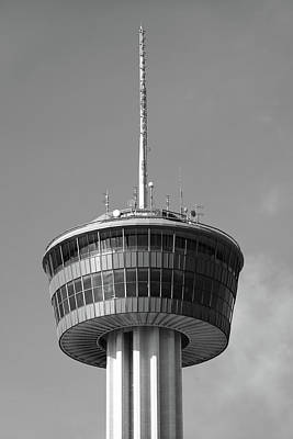 Photograph - Tower Of The Americas San Antonio Texas - Black And White by Gregory Ballos