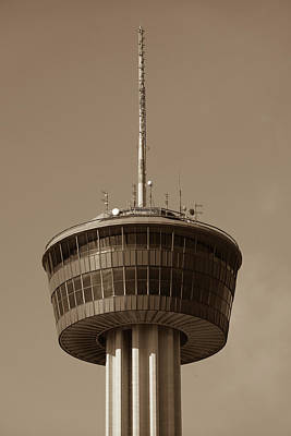 Photograph - Tower Of The Americas San Antonio Texas - Sepia by Gregory Ballos