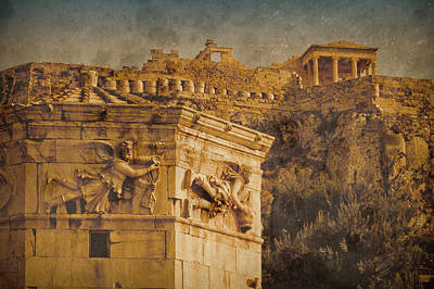 Photograph - Athens, Greece - Tower Of The Winds Oldplate by Mark Forte